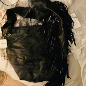 Free People Bags - NWT🖤FP🖤Fringed Leather Crossbody Bag